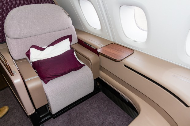 One of the spacious first class seats on Qatar Airways' A380.