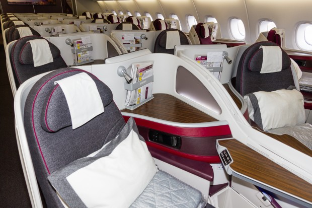 The business class cabin onboard Qatar Airways' A380.