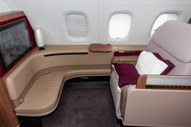 Another view showing just how large the first class seat is.