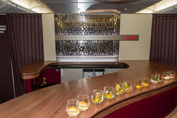 The onboard bar area for premium cabin passengers.