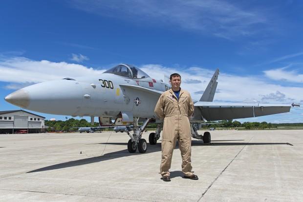 Lt. Lindahl in front of Hornet 300