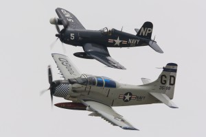 F4U Corsair and A1E Skyraider were part of the collection of warbirds present this year.