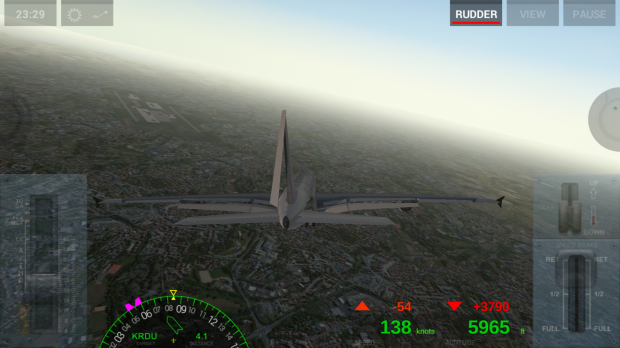 Snapped rudder on this jumbo while descending into Raleigh. Will I make it?