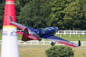 Master Class pilot Matt Hall (AUS) lining up for Gate 1 shortly after takeoff from the Ascot temporary runway.