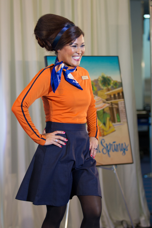 JetBlue unveiled retro uniforms for the inaugural flight to Palm Springs as well.