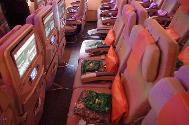 The economy cabin in the A380.