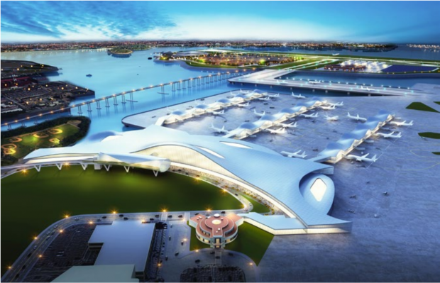 Artist rendition of the proposed airport redesign that includes usage of Rikers Island.