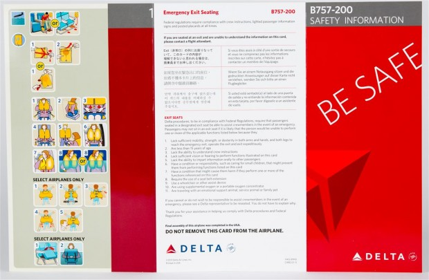 Delta 757-200 Safety Card noting final assembly in the USA