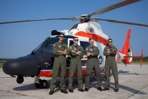 The crew and their Dolphin out of USCG Air Station Savannah. This MH-65D sports the 100 years of Coast Guard aviation livery, and honors LTJG Francis J Charles. Charles lost his life on a SAR mission on the California coast when the HU-16E he was in crashed into a hillside as a result of thick fog.