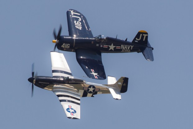 Jim Tobul and Scott Yoak in their gorgeous warbirds, Korean War Hero, and Quicksilver.