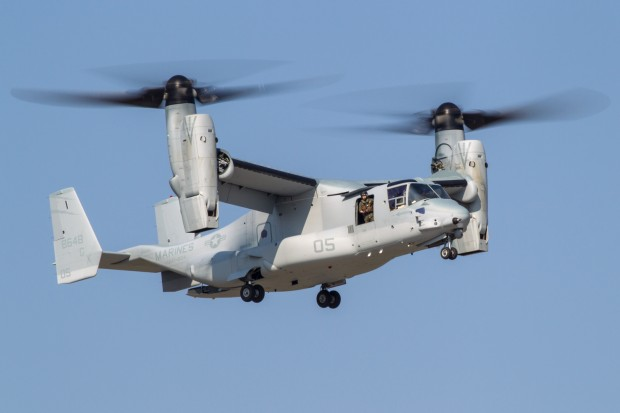 The VMMT-204 Raptors arrive in style in their MV-22 from MCAS New River.