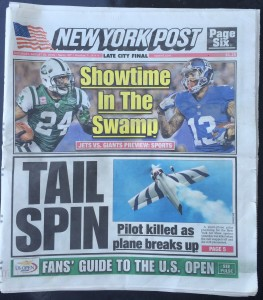 The front page of the NY Post the morning after the crash.