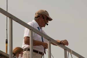 New York Air Show Announcer Larry Strain at his station at show center.