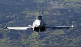 A Eurofighter Typhoon in flight.