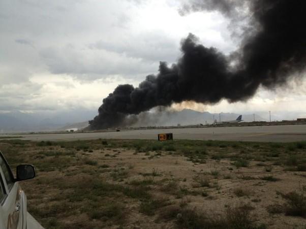 The crash site of a National Air Cargo 747 (Credit: Albert Ramirez, Twitter)