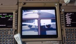 On board cameras on a Boeing 777-300ER displayed on the flight deck